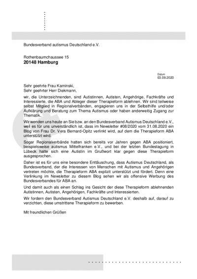Vorlage des Schreibens an den Bundesverband Autismus Deutschland e.V.