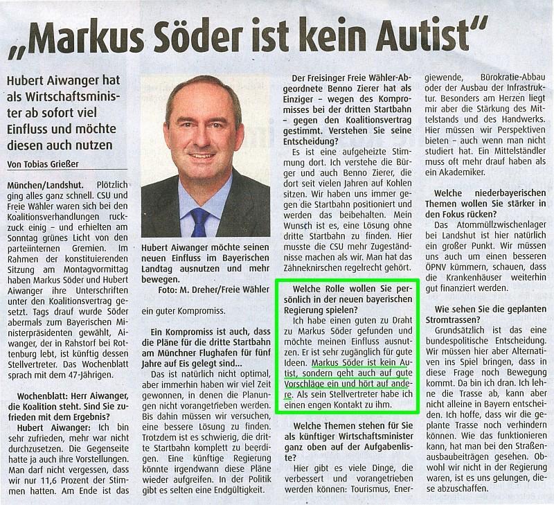 Quelle: Hubert Aiwanger im Landshuter Wochenblatt vom 07.11.2018